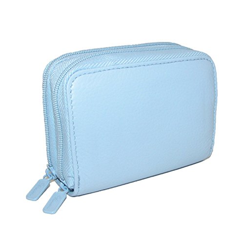 Card Case Mini Wallet - Buxton Womens Leather Mini Accordion Wizard Wallet, Credit Card Case, Coin Purse, Id Holder, (Light Blue)