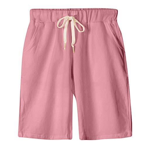 (XinDao Women's Plus Size Elastic Waist Soft Jersey Knit Bermuda Shorts Pink)