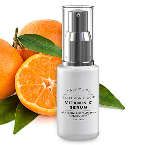 Calily Life Hyaluronic Acid Vitamin C Serum with Dead Sea Minerals, 1 Oz. – Contains Vitamins A, C, E, B5 and More - Restores Youthful Glow - Hydrates, Enrichens, Strengthens and Nourishes [ENHANCED] ()