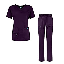 Adar Indulgence Jr. Fit Women's Scrub Set - Enhanced V-neck Topmulti Pocket Pants - 4400 - Purple - S