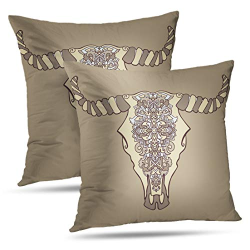 HAPPYOME Decorative Throw Pillow Covers Mandala Tattoo Cow Head Ornament Buffalo Skull Native Indian Pillow Case Cushion Cover for Bedroom Livingroom Sofa Set of 2 18X18 Inches