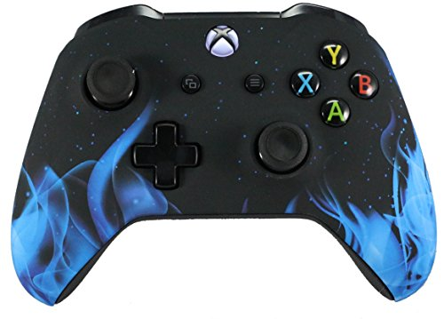 Xbox One Soft Touch Design Custom Gaming Controller -Soft Shell For Comfort Grip - Blue Flames (Blue Xbox Controller Shell)