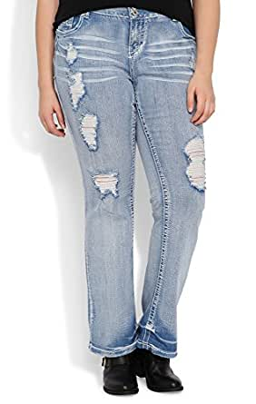 Deb Junior Plus Size Amethyst Slim Bootcut Jean with Super Light Destructed Wash Light Denim 24