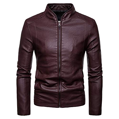 Sunhusing Men's Fashion Style Personality Motorcycle Leather Stand Collar Pocket Zip Jacket Casual Outwear ()