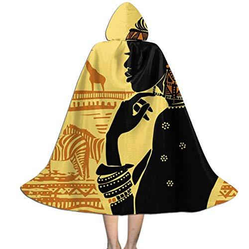 Halloween Costumes Silhouette of African Women Zebra Giraffe Great Hooded Witch Wizard Cloak for Womens Mens Kids M