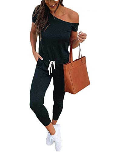 Women One Off Shoulder Jumpsuits Short Sleeve Casual Skinny Long Pants Rompers with Pockets Black