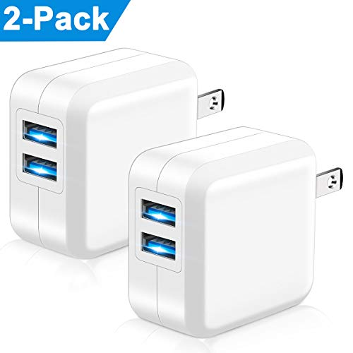 USB Wall Charger, Niluoya 2.4A 2-Pack Foldable Plug Dual Port USB Power Adapter Charger Block Charging Cube Compatible with iPhone Xs Max/X/XR/8/8 Plus/7/6S/6S Plus, iPad, Samsung, HTC, Moto