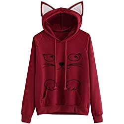 I'm a cat Sweatshirt,Womens Cat Long Sleeve Hoodie Pocket Pullover Tops Blouse (S, Red 2)