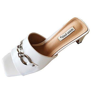 LvYuan Mujer Sandalias Confort PU Verano Confort Tacón Robusto Blanco Negro 7'5 - 9'5 cms White