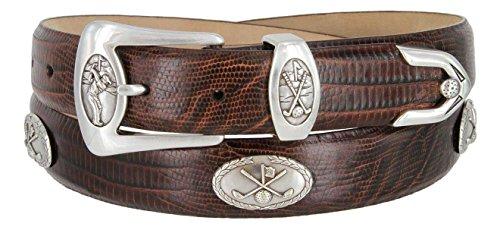 (BC3109 - Men's Italian Calfskin Designer Dress Belt with Golf Conchos (42 Lizard Brown))