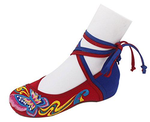 Icegrey Bordado Hecho A Mano Del Tobillo Ata Para Arriba El Resbalón En Los Zapatos Planos Para Las Mujeres Rojo azul