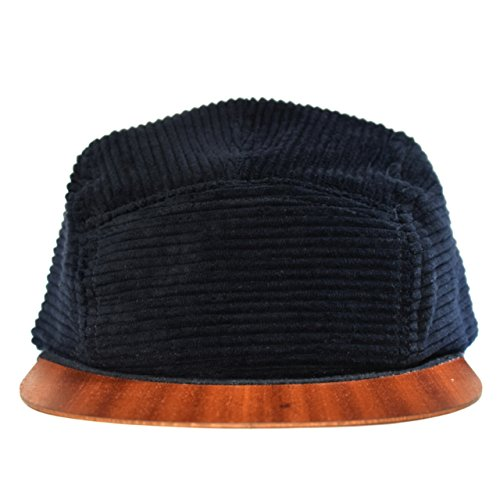 Black Cap with unique wooden brim - Made in Germany - Corduroy hat - Light weight & comfortable - Unisex - One size fits all Snapback | Lou-i Baseball Cap