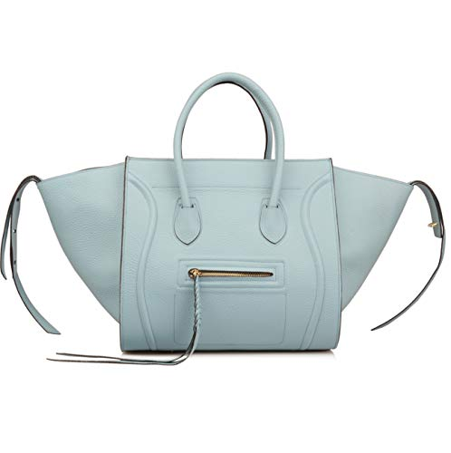Ainifeel Women's Genuine Leather Bat Oversize Tote Bag Purse Handbags (X-large (Oversize), Grey blue) ()