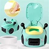 YICIX Baby Potty Toilet Car WC for Kids Toilet Trainer Seat Chair Comfortable Portable Pot Children Toilet for Baby for Toddler Multifunctional Creativity Car Toy Potty Bottles,Green