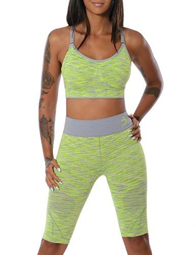 Damen Yoga Sport-Set Fitness Push-Up BH mit Hot-Pants (weitere Farben) No 14030, Farbe:Gelb;Größe:S / M
