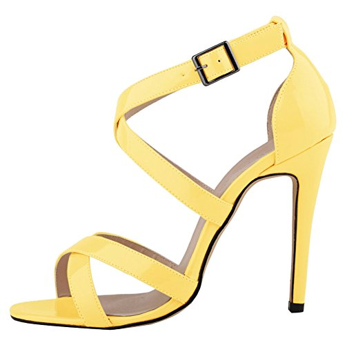 abierta a Anckle Tacón Punta para Sandalia Fereshte mujer alto través Correa de Luz amarilla YfxSqXYgw