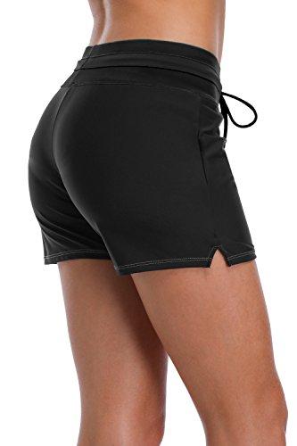 bfddfd2dce1 Sociala Swim Shorts for Women High Waist Swimsuit Bottoms Black Boardshort M