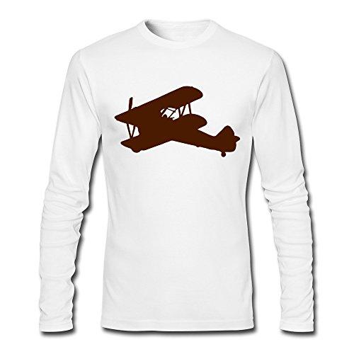 Men Biplane Silhouette 100% Cotton Long Sleeve Shirts White XL - Aviation Long Sleeve T-shirt
