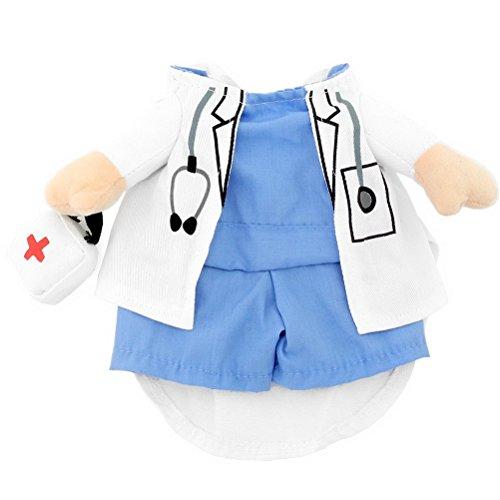 Shih Tzu In Halloween Costumes (PETLOVE Small Dog Clothes Girl Boy Fancy Dress Print Doctor Suit Dog Costume Coat S)