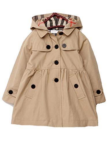 Mallimoda Girl's Hooded Trench Coat Jacket Dress Windbreaker Outwear (10-11 Years, Khaki-Warm Quilted Lined) ()