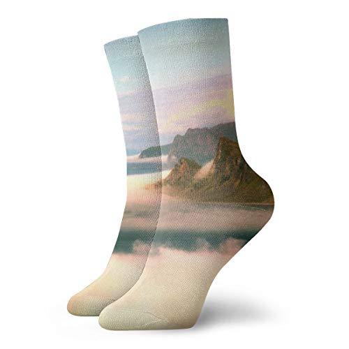 Unisex High Ankle Cushion Crew Socks Mountain Fog Casual Sport - Mountain Laurel Light