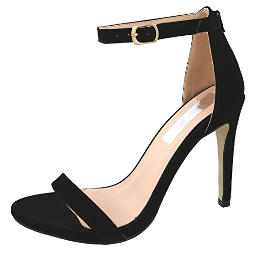 Cambridge Select Women's Open Toe Single Band Buckled Ankle Strap Stiletto High Heel Sandal (10 B(M) US, Black NBPU)