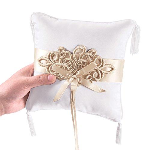 White Elegant Wedding Rings Pillow Vintage Champagne Lace Decoration Fringe Ring Cushion Bearer Satin With Bowknot Ribbon 18cm Square - Ring Pillow Ribbon