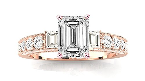 0.51 Ct Emerald Cut Diamond (14K Rose Gold 1.09 CTW Gorgeous Prong Set Round And Half Bezel Baguette Diamond Engagement Ring w/ 0.51 Ct GIA Certified Emerald Cut F Color VVS2 Clarity Center)
