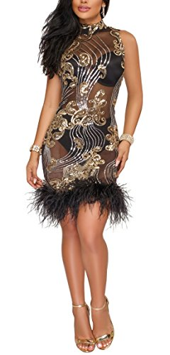 Kearia Women Sexy Sequin Mesh Nude Illusion Feather Sleeveless Bodycon Club Party Mini Dress Black Large -