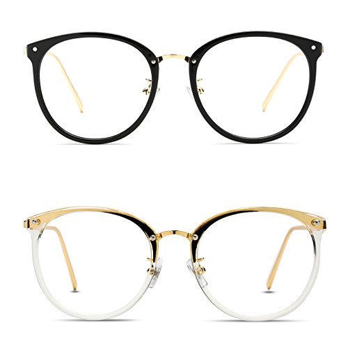 TIJN Vintage Optical Eyewear Non-prescription Eyeglasses Frame with Clear Lenses (J, - Oval Eyeglasses