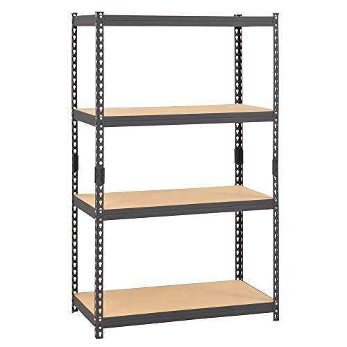 "Edsal CR364P-GY Steel Boltless Rivet Particle Board Shelving, 4 Shelves, 60"" Height x 36"" Width x 18"" Depth, Gray"