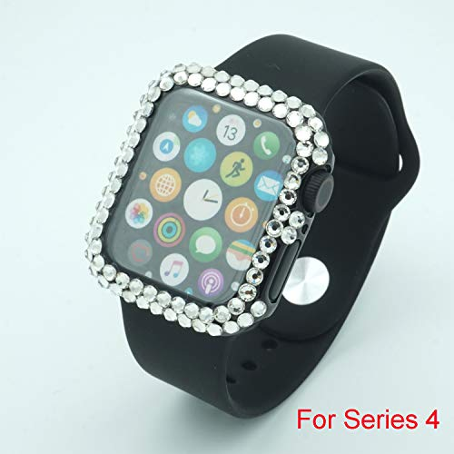 - Royalfox Fashion 3D Bling Diamond handmaded PC Plated Full Protective Bumper Case Cover Skin for Apple Watch Series 4 40mm (Black, 40mm)