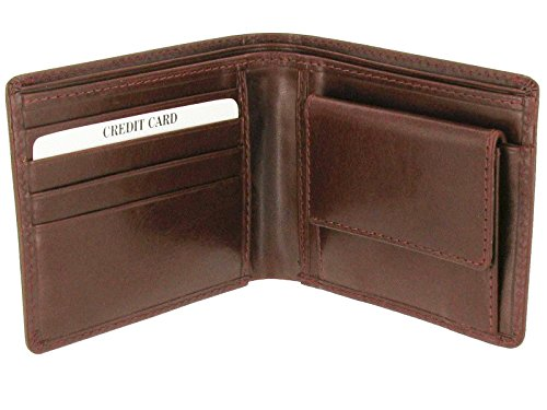 Brown Italian Coin Wallet Brown with Pocket Leather Italian gwSrgq