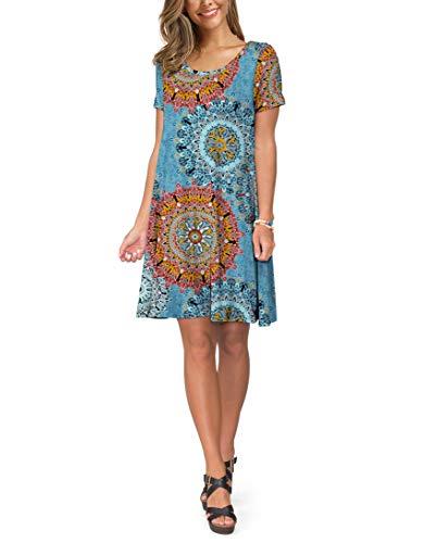 KORSIS Women's Summer Floral Dresses T Shirt Dress Flower Mix Blue 3XL