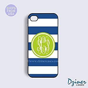 Monogrammed iPhone 6 Case - 4.7 inch model - Blue White Stripes Green Circle iPhone Cover