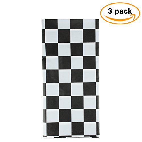 Checkered Flag Racing Set (3 Pack Black & White Checkered Flag Table Cover Party Favor?Checkered Tablecloth?Disposable Checkered Racing Table Cover)