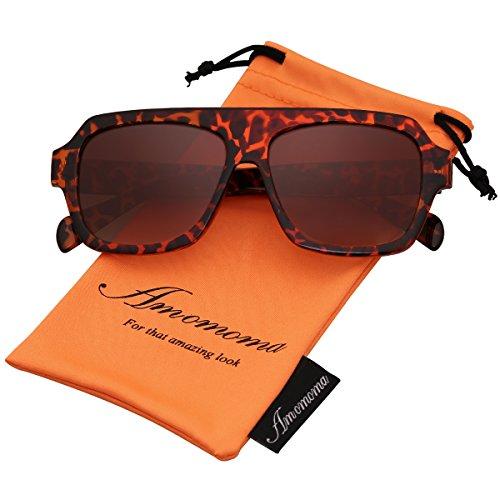 Amomoma Men's Women's Fashion Flat Top Square Sunglasses Retro Shades AM2004 Brown Demi Frame/Brown - Cheap Trendy Sunglasses