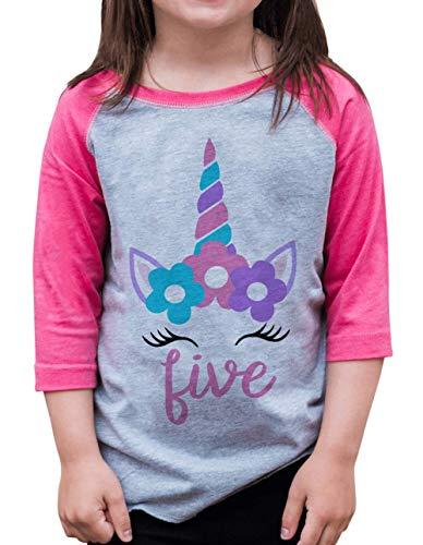 7 ate 9 Apparel Girls Five Birthday Unicorn Raglan Tee Pink 5/6T (Peel Transfer T-shirt)