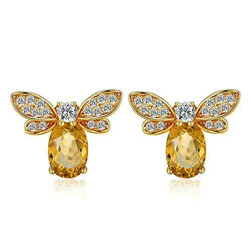 Wisslotus 14K Yellow Gold Plated Sterling Silver Cute Bee Earrings Studs for Women Teen Girls Natural Citrine Gemstone Honeybee Animal Earrings Jewelry (Yellow Gold)