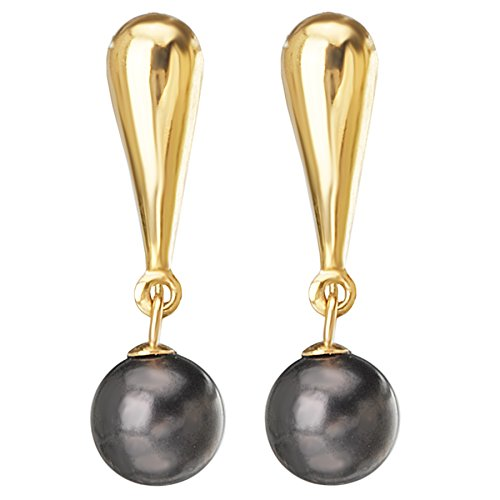 14k Yellow Gold & Cultured Freshwater Black Dyed Pearl Dangle Drop Earrings (6-6.5mm Pearls)