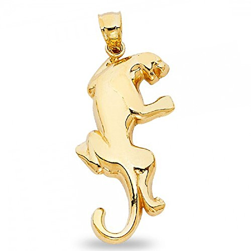 Puma Pendant Solid 14k Yellow Gold Big Cat Cougar Charm Polished Finish Animal Design 31 x 18 mm (Cat Yellow Charm Gold)