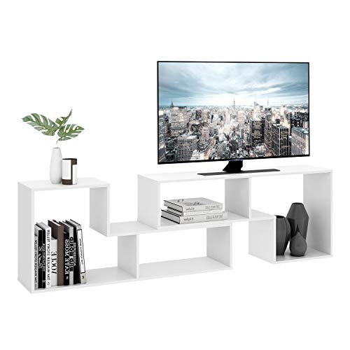 DEVAISE TV Console Stand, Modern Entertainment Center Media Stand, Storage Bookcase Shelf for Living Room, 0.59 Thick, White