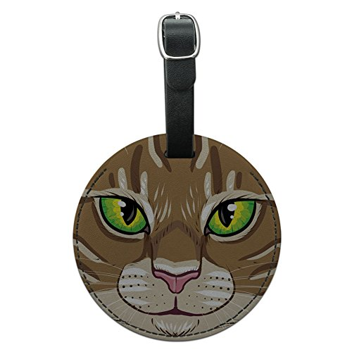 Tabby Cat Face - Graphics & More Brown Tabby Cat Face Pet Kitty Round Leather Luggage Id Tag Suitcase Carry-on, Black