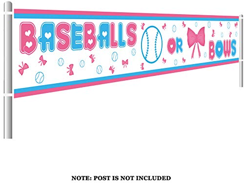 Colormoon Gender Reveal Party Supplies Decorations, Large Baseballs or Bows Banner, Pink & Blue Gender Reveal Party Decorations (9.8 x 1.5 -
