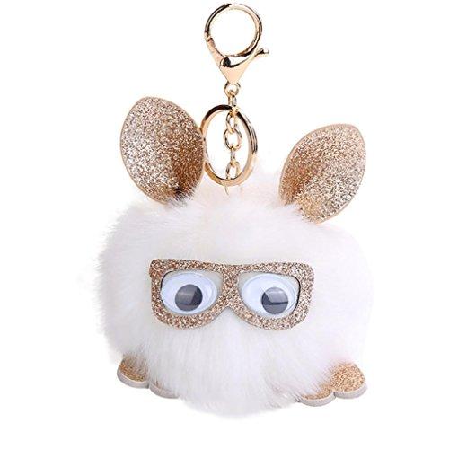 Porte-clés, Transer ® Mignon hibou pendentif porte-clés porte-clés pompons pour femmes fille (Blanc)