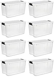 Sterilite Storage Boxes,White Lid & Clear Base with Latches,70 Quart/66Liter, (8-Pack)