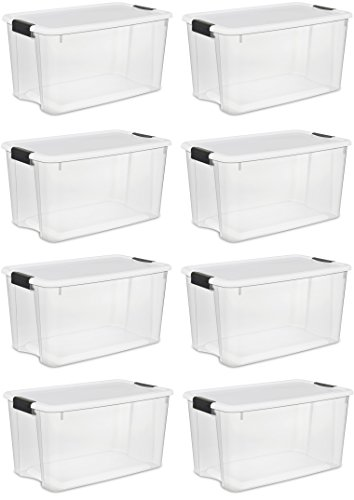 Sterilite Storage Boxes,White Lid & Clear Base with Latches,70 Quart/66Liter, (8-Pack) (70 Quart Ultra??? Storage Box)