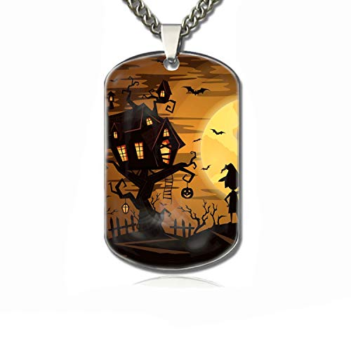 PANQJN Halloween Party Pet Necklace ID Tags for Dogs - Personalized Pet ID Name Tag Attachment ()