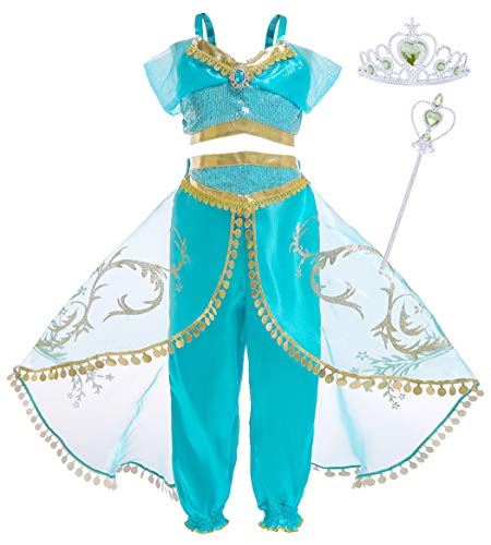 (Jurebecia Jasmine Costume Girls Princess Arabian Dress Up Halloween Theme Party Cosplay Outfit with Crown Age 5-6 Years Size)