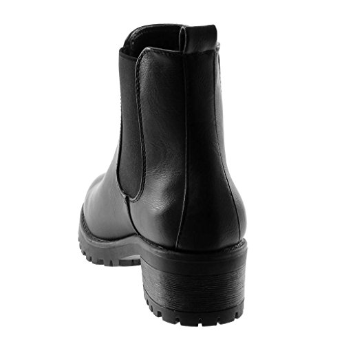 d8acd068d06 4 Femme on Haut Mode Talon Plateforme Cm Bottine Slip Noir Boots Chaussure  Chelsea 5 Élastique Angkorly Bloc C1Ox8qwAO
